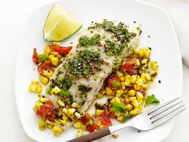 Foil-Packet Fish with Corn Relish: Grill bass fillets and corn relish in a foil packet for an all-in-one meal! Top the fish with a cilantro-ginger mixture to add flavor and color.