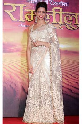 Deepika Padukone Off White Designer Saree By Jomso Bollywood Sarees Online on Shimply.com