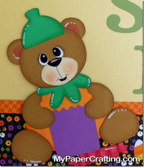 Cricut Paper Piecing Cartridge Critters Bear in Pumpkin Suit. Trick or Treat Halloween Sign. Details: http://www.mypapercrafting.com/2013/10/Doodlecharms-treat-sign.html