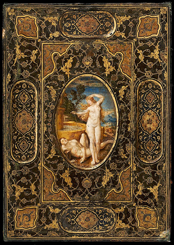 Book Cover, late 16th century. Leather, paint and gilt | HI RES.  Museum Kunstpalast, Germany