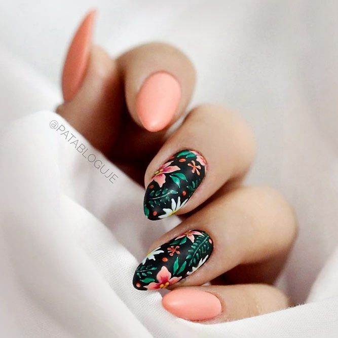 Tropical Floral Print #summernails #flowernails #mattenails ❤️ 25 Fun And Fl…