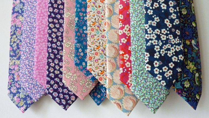 Collection of Liberty print ties for the groom and best man and ushers, bespoke order of wedding ties http://www.catkinjane.co.uk/bespoke.html