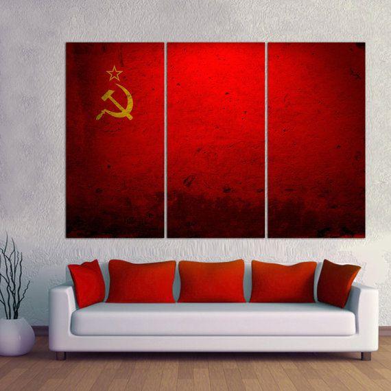 3 panel split soviet flag canvas print 15 deep framesformer russian communist flag triptych art for home wall decor interior design