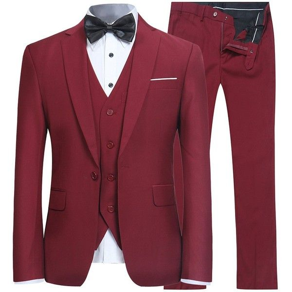 Men's Slim Fit 3 Piece Suit One Button Blazer Tux Vest Trousers (69 CHF) ❤ liked on Polyvore featuring men's fashion, men's clothing, men's pants, men's dress pants, mens tuxedos, mens wide leg dress pants, mens three piece suit, mens tuxedo pants and mens 3pc suits