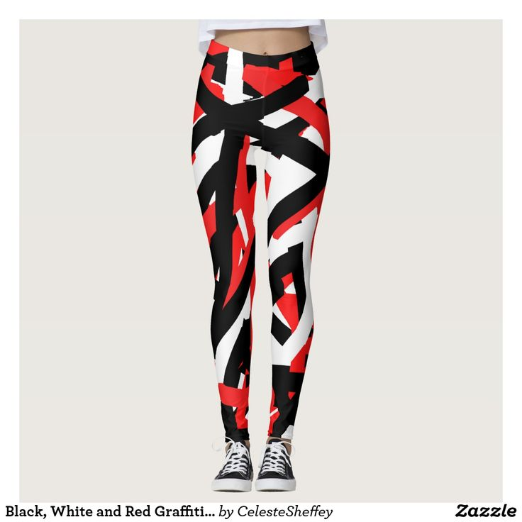 Black, White and Red Graffiti Art Leggings - matching hoodie sold in my other store