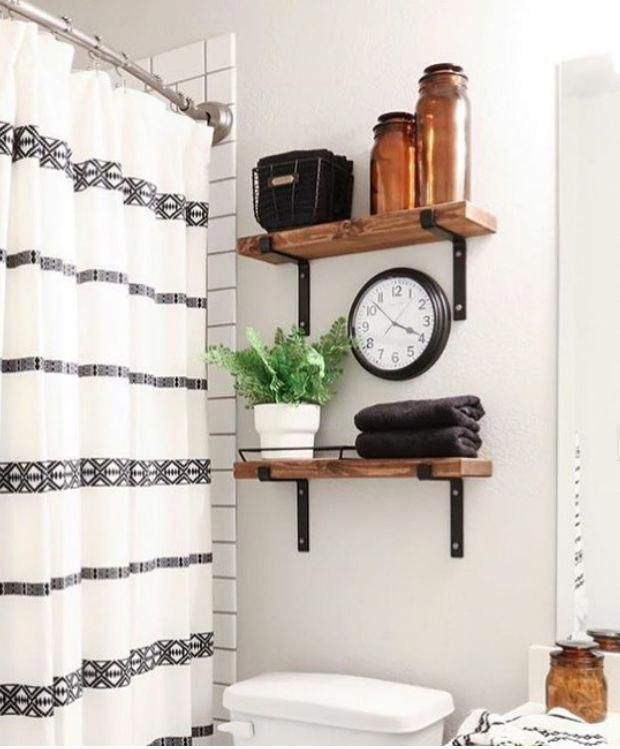 bathroom shelving with wood and metal brackets instead of cabinets above toilet …   – bathroom makeover