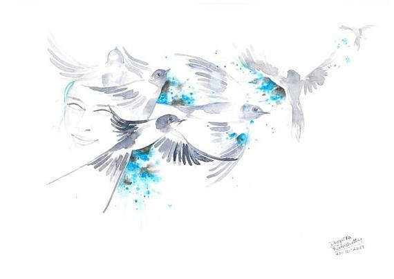 Freedom Bird Art Flying Swallow Birds Painting Aquarelle Artwork