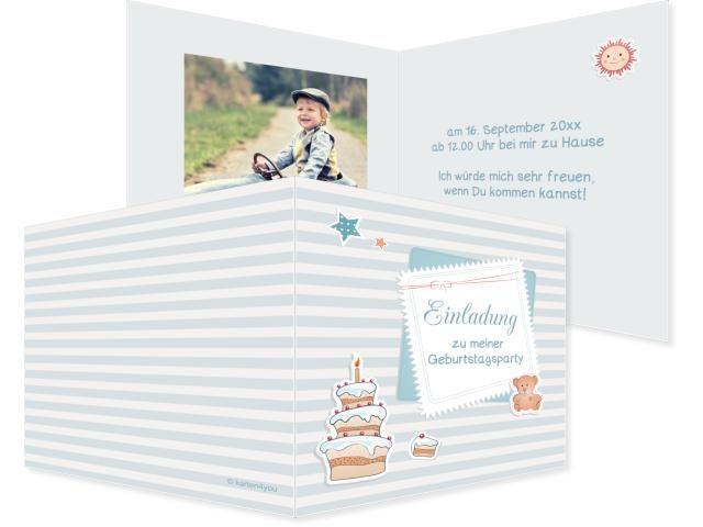 Geburtstagstorte Buchzeichen 2-seitig 70x210mm blau / türkis, Geburtstag, Einladungskarten, Geburtstagskarten, Kindergeburtstag, Kids, Birthday,  Party, Birthdayparty
