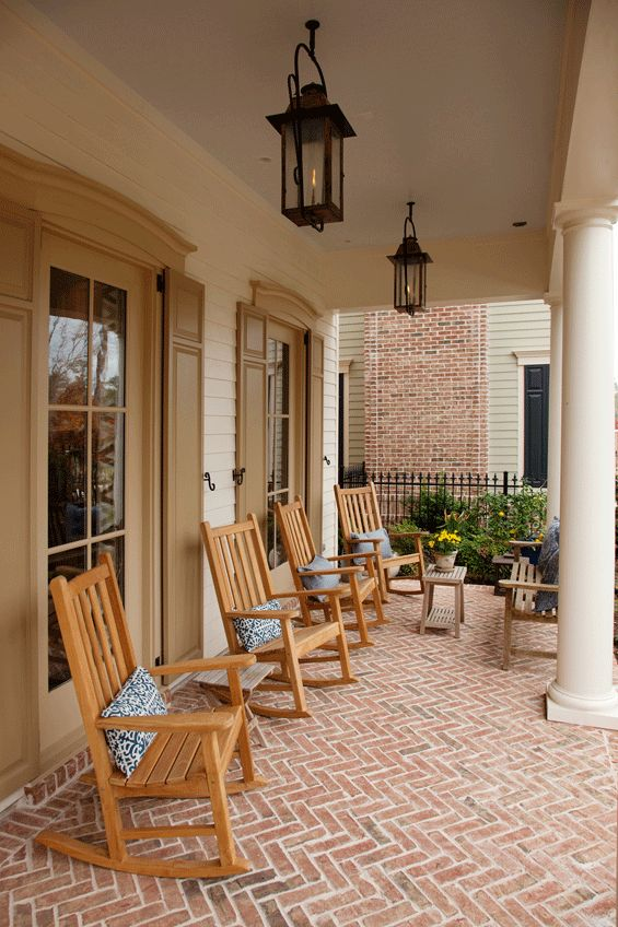 LOVE The Feel Of This Porch   Herringbone Brick, The Window Trim Detail And  The Shutters.