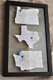 Frame maps of all the places you've lived/traveled as a married couple/family. So cute