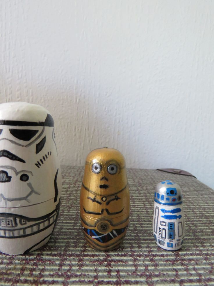 Up cycled Hand Painted Star Wars Russian dolls - C3PO and R2D2