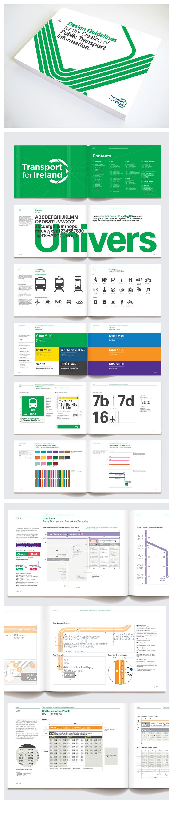Transport for Ireland Design guidelines for the creation of public transport information by fwdesign #Wayfinding Design Guidelines, Transport Design, Wayfinding, Signage, Mapping, Infographics, Ireland, Dual Language www.fwdesign.com