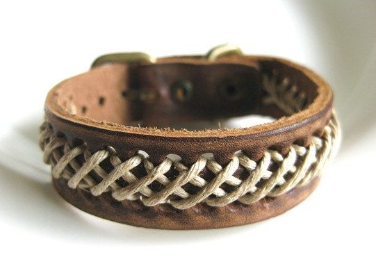 jewelry bangle buckle bracelet leather bracelet woven bracelet men bracelet women bracelet made of brown leather and ropes woven sh-0550. $8.00, via Etsy.
