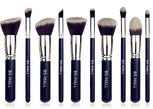 awesome BS-MALL(TM) Premium Synthetic Kabuki Makeup Brush Set Cosmetics Foundation Blending Blush Eyeliner Face Powder Brush Makeup Brush Kit(10pcs, Silver Black)