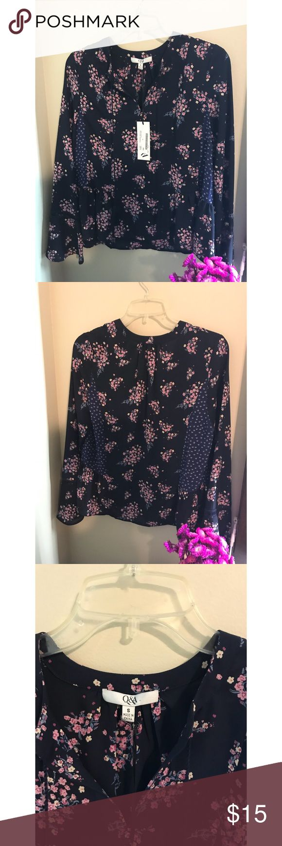 ✨Q&A Floral Blouse✨ Dark Navy Blue Floral Sheer Material Blouse!! NWT Size: Small Q&A Tops Blouses