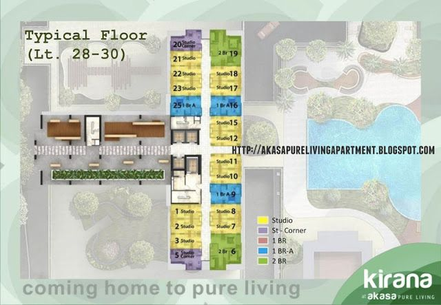 Floor plan tower Kirana Akasa BSD Apartment. #akasapureliving