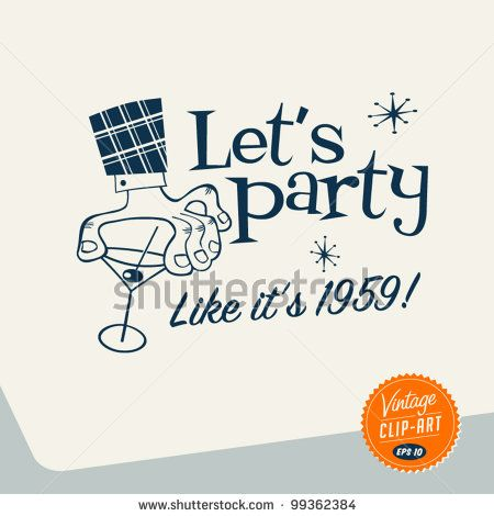 Vintage Clip Art - Let's Party - Vector EPS10. by Callahan, via Shutterstock