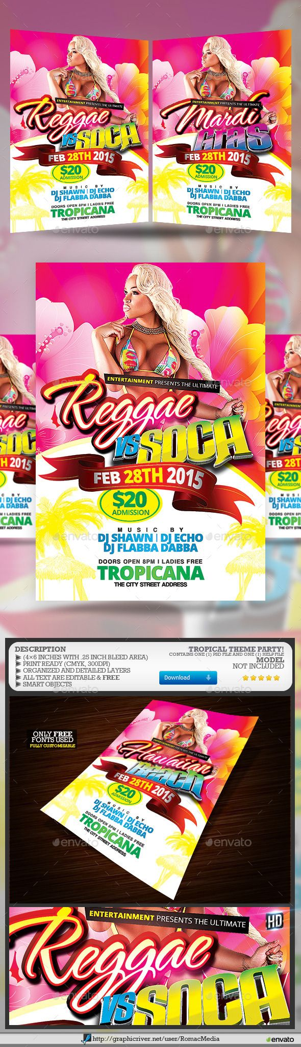 Tropical #Theme #Party #Flyer - Clubs & Parties #Events Download here: https://graphicriver.net/item/tropical-theme-party-flyer/10204084?ref=alena994