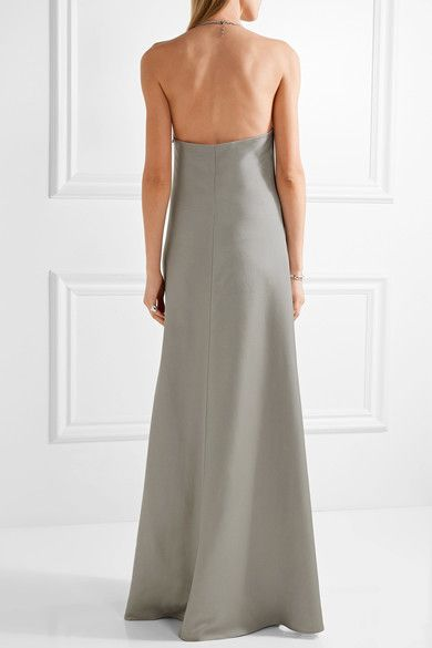 Barbara Casasola - Chain-trimmed Wool And Silk-blend Halterneck Gown - Gray - IT
