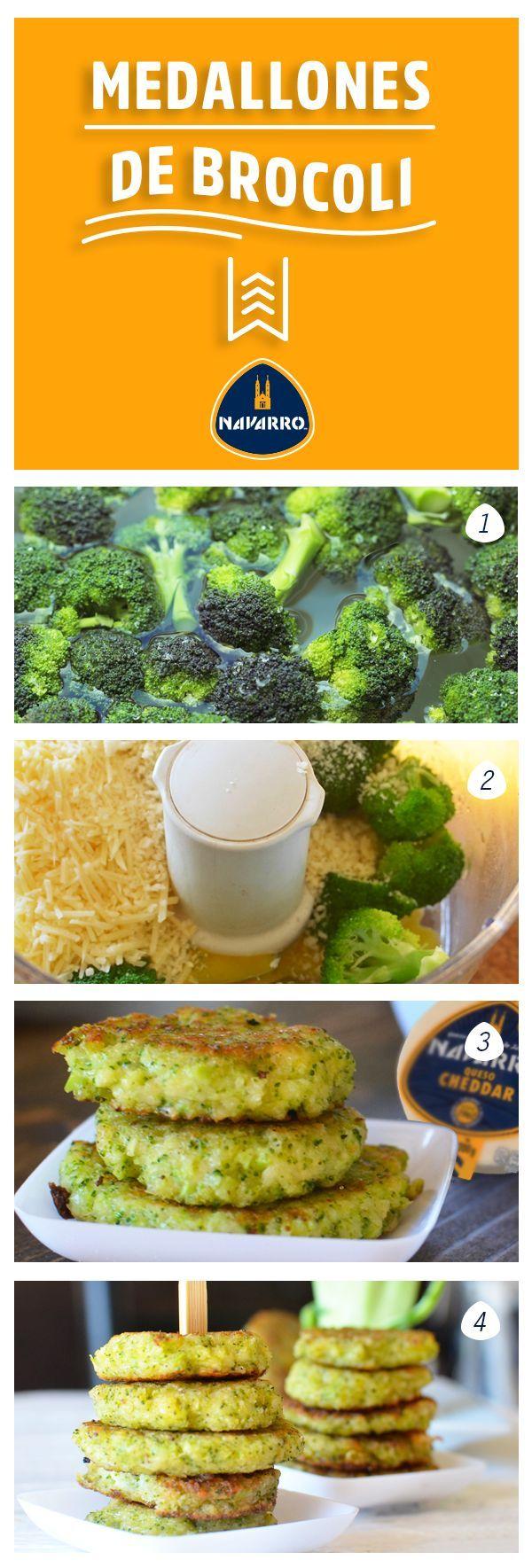 Y para acompañar platillos con verduras: Medallones de brócoli.   1-Hierve dos tazas de brócoli. 2-Licúa: el brócoli, dos huevos grandes, media taza de pan molido y media taza de Queso Cheddar NAVARRO. 3- Usando una cuchara forma bolitas con la mezcla y fríe, aplastándolas con la espátula. 4. Una vez lista sírvelas calientes.   https://lomejordelaweb.es/