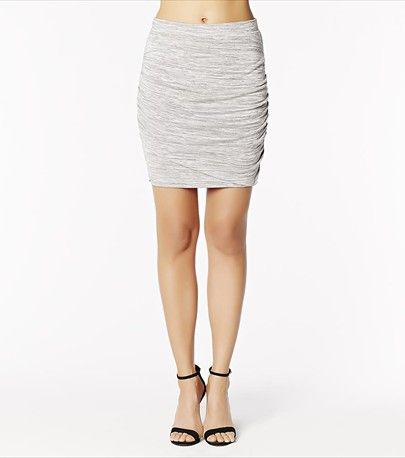 This light grey mini skirt features ruches sides and a sexy fit.