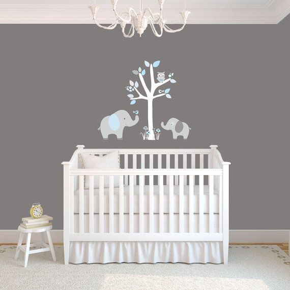 Mini jungle decals small elephant wall decal nursery for Elephant mural nursery