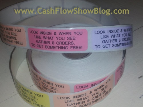 """Put these Stickers on the outside of every catalog: """"If you like what you see and your wallet says no.... gather 6 orders and call it a show!"""" Use them for incentives or awards and front and back of every catalog you hand out!"""