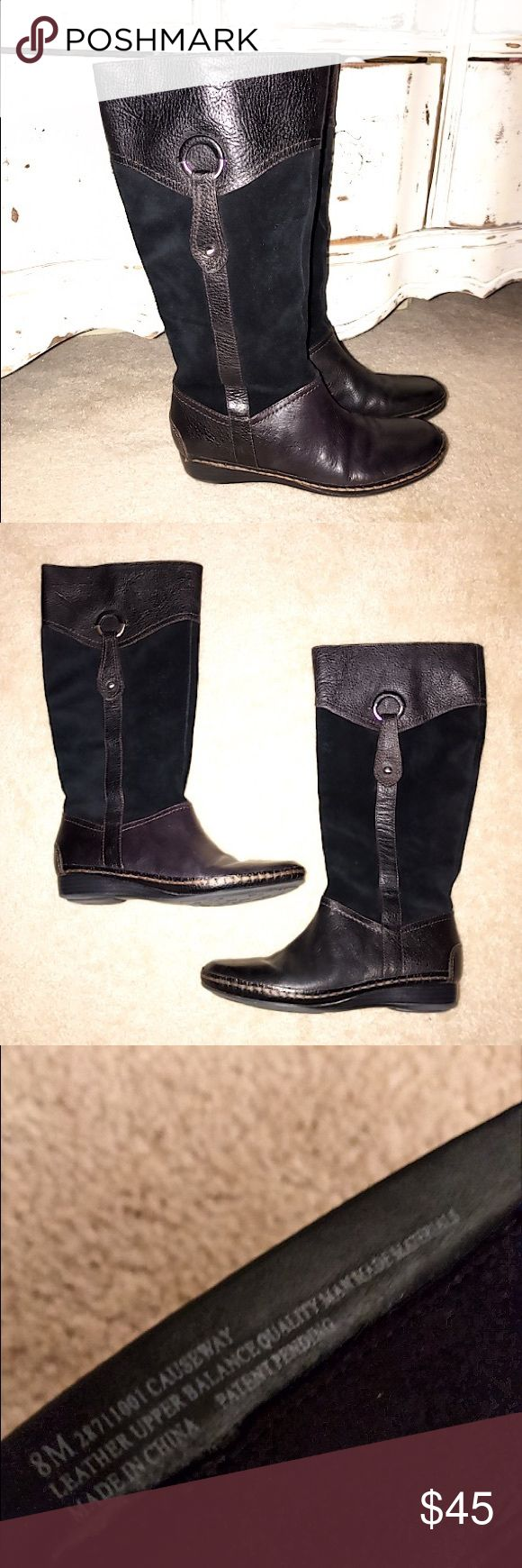 Naturalizer✨Genuine Leather Boots Comfy brown with black suede boots. Silver hardware. Great condition. Naturalizer Shoes