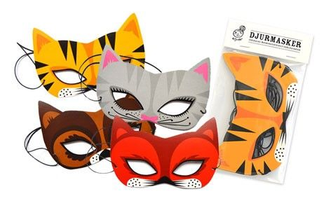 Animal masks - Ejvor #nordicdesigncollective #halloween #kidsparty #cat #tiger #fox #squirrel #mask