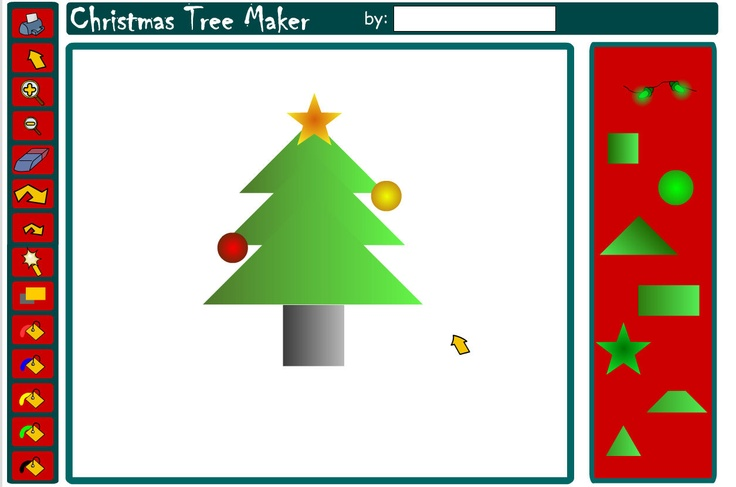 Choose and manipulate shapes to create a festive tree.  Click on shapes to add them to the canvas. Change the shapes by using the tools on the left-hand bar. Enlarge or decrease in size, apply different colours, rotate, erase. To replicate a shape, click the magic wand tool then the shape.