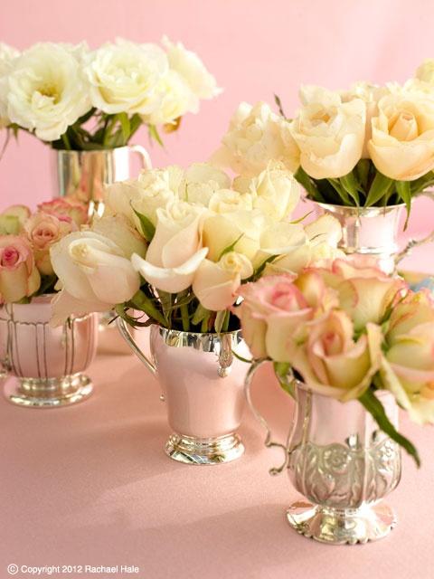 Sandra Kaminski  #rose arrangement #roses #antique silver #wedding flowers #wedding decoration #pink wedding