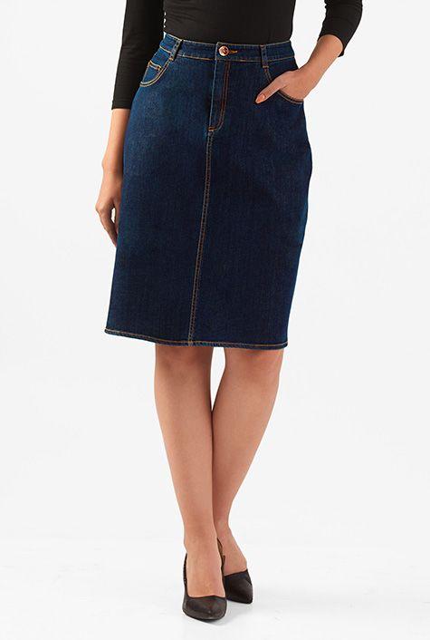 I <3 this Deep indigo denim straight skirt from eShakti