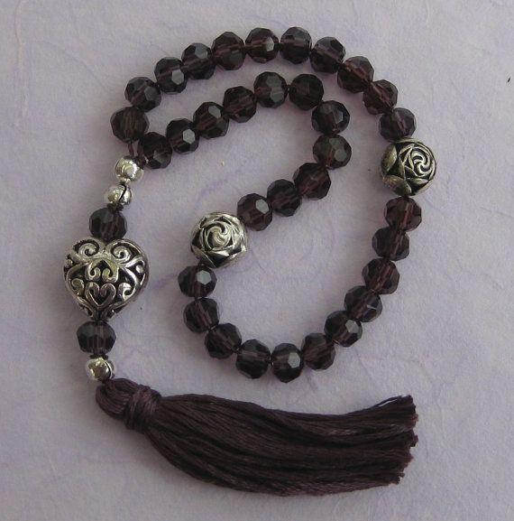 33 prayer beads 6mm purple cut glass crystal Sufi by BariBazaar