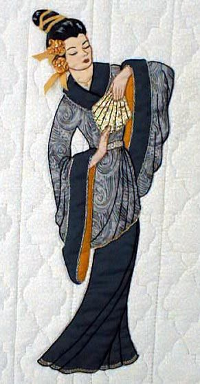 """#4 """"Oriental Bonnet Girls"""" Jade Pattern $6.50. Jade is a tall elegant lady. Embroidery floss or ribbon is used to accent her hair. The fan has embroidery appliqué lines."""