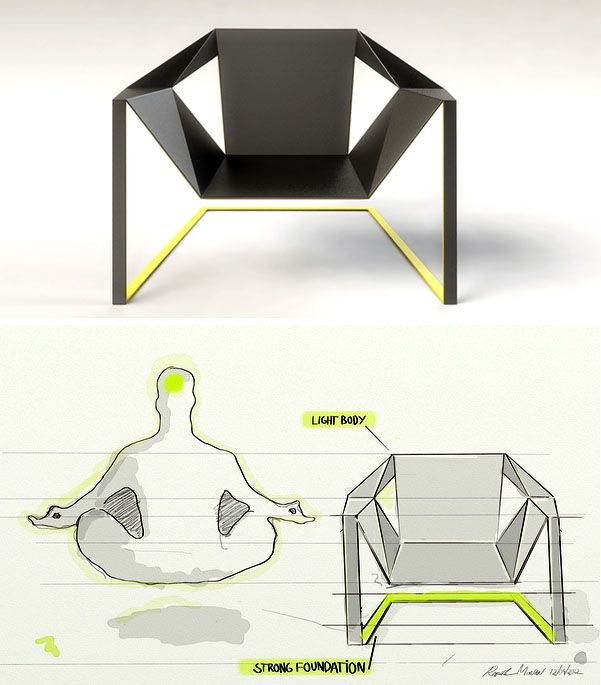 Great Zen Chair By Rafael Morgan Is Inspired By The Silhouette Of A Meditating  Monk, Reducing Design Inspirations