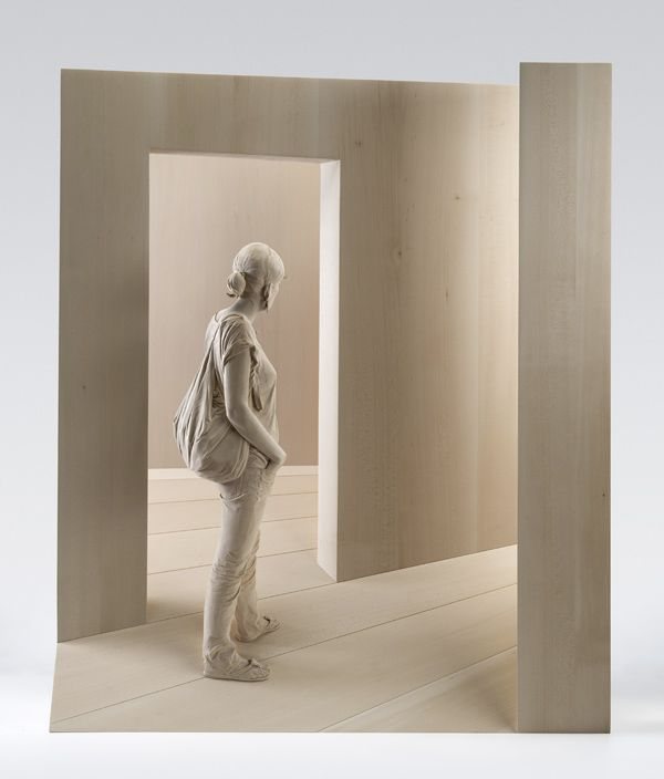 Wauw, what a great artist. People of wood, looks so real.  http://www.peterdemetz.it/index/works_eng.html