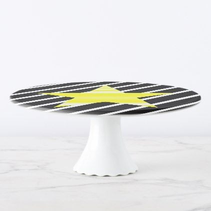 Star - geometric pattern - yellow and black. cake stand - Xmas ChristmasEve Christmas Eve Christmas merry xmas family kids gifts holidays Santa