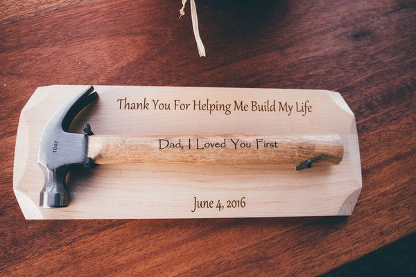 "Father of the bride gift idea - ""Thank you for helping me build my life"" with custom hammer from bride to father {Amy Gauthier Photography}"