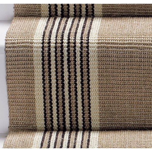 stair carpet runners | ... Kobb Tetouan 27 inch 100% Sisal Stair Runner - Cream and Black