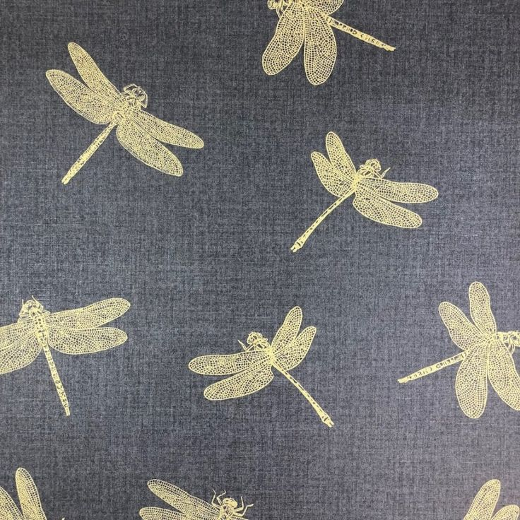 Private Walls Dragonfly Black/Gold Wallpaper. Dragonfly from the Private Walls collection. Captivating gold dragonflies on a smooth black background.