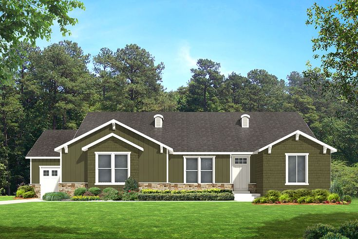 Red Deer A Craftsman Style Rambler House Plan Walker