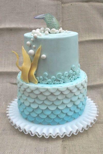 Blue Ombre Ocean Birthday Cake