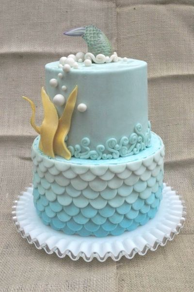 Blue Ombre Ocean Birthday Cake