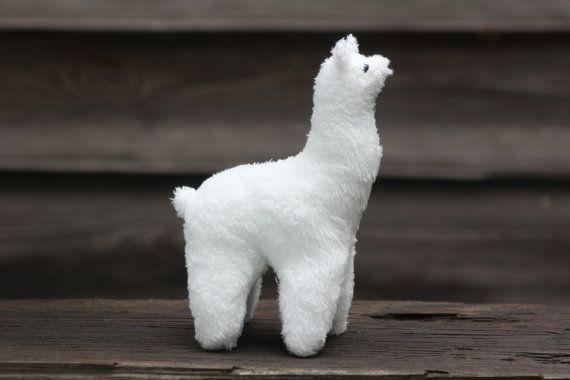 Soft toy white Llama plush toy Llama alpaca  stuffed by NaBakir