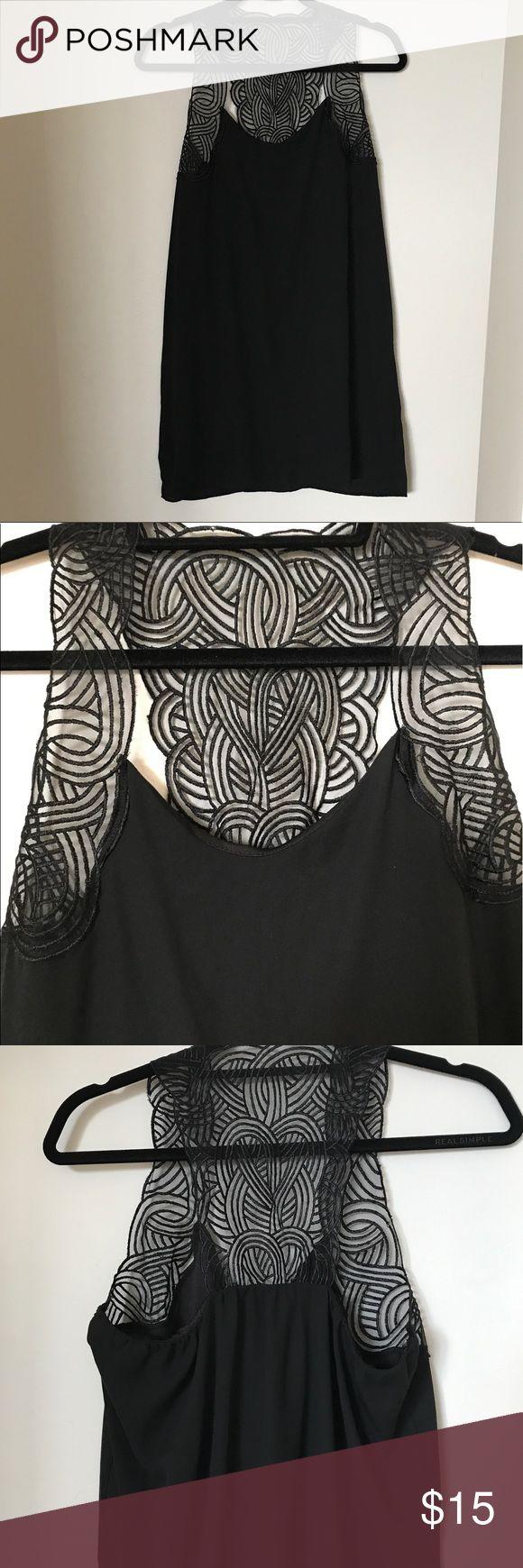 Black shift dress Black shift dress with lace detail Francesca's Collections Dresses Mini