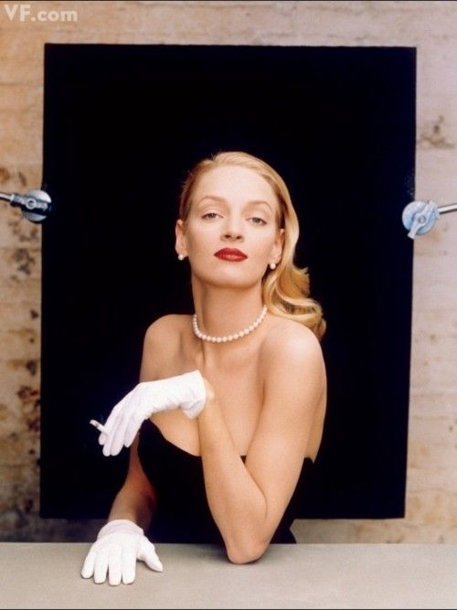 Uma Thurman photographed by Annie Leibovitz for Vanity Fair, January 1996