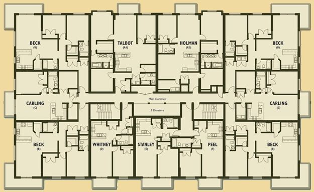 Apartment building floor plans apartment building floor for Apartment building blueprints