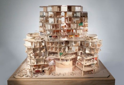 Section view of west elevation, model scale: 1-to-50. By Gehry Partners.Chak Wings, Architecture Buildings, Gehry Partner, Chau Chak, Frank Ghery, Frank Gehry, Dr. Chau, Business Schools, Architecture Models