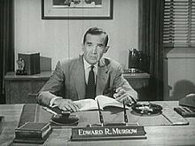 Edward R. Murrow (born Egbert Roscoe Murrow) was an American broadcast journalist. He first came to prominence with a series of radio news broadcasts during World War II, which were followed by millions of listeners in the United States and Canada. A pioneer of television news broadcasting, Murrow produced a series of TV news reports that helped lead to the censure of Senator Joseph McCarthy.