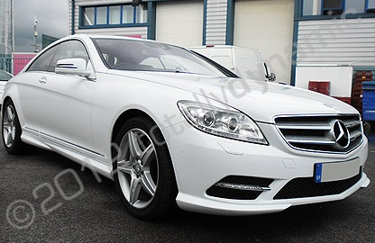 Mercedes CL500 with gloss white car wrap